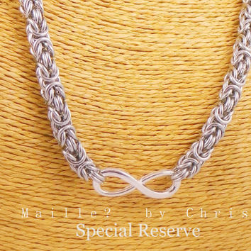 RESERVED Listing for Bekah - Stainless Steel Byzantine Chainmaille Day Collar with Infinity
