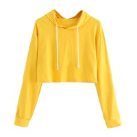 Fall 2018 women's hoodies casual solid short yellow cropped hoodie fitness crop top hoodie cool hoodies for women