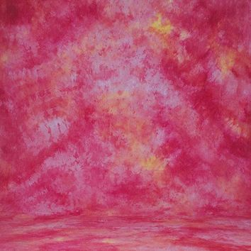 Printed Muslin Abstract Hot Pink Yellow Contrast Backdrop - 110-8