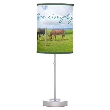 """Live simply"" quote Hawaii horses photo table lamp"