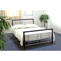 Queen size Modern Metal Platform Bed with Headboard Footboard in Black & Silver