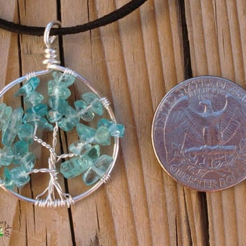 ON SALE Blue Apatite Tree of Life Necklace - Silver Plated Copper - Made to Order - Tree of Life Jewelry