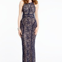 Sequin and Lace Dress with Satin Piping
