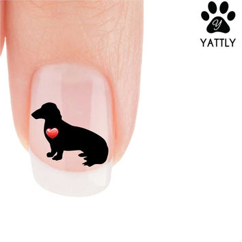 """""""My Heart"""" Dachshund (Sitting) Nail Art Decals ( Now 50% More FREE)"""