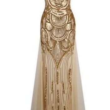 Shining Gold Great Gatsby Dress Strapless Sequined
