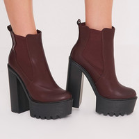 AERIN BURGUNDY CLEATED SOLE PLATFORM ANKLE BOOTS