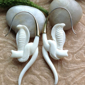 "Tribal Earrings, ""Cobra (Naja)"", Bone, Brass Tops, Sterling Silver Posts, Handcrafted, Exotic"