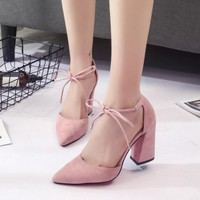 Cute Lace Up Summer Suede High Heels Pointed Toe Shoes on Luulla