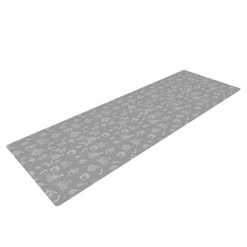 "Snap Studio ""Miniature Christmas Gray"" White Yoga Mat"