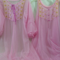 Peignoir Set Pretty Pink With Embroidery  Long Robe and Long Negligee Nightgown