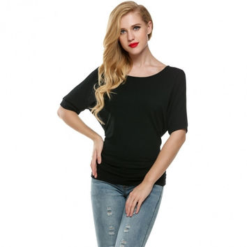 Women Casual Loose Boat Neck Short Sleeve Dolman Blouse Tops