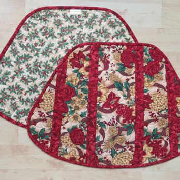 Quilted Holiday Placemats Floral Christmas 534
