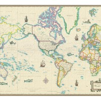 World Modern Day Antique Canvas Wall Map 24x36