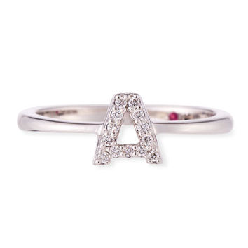 Roberto Coin Diamond Letter Ring in 18K White Gold
