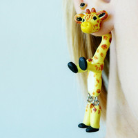 fake gauge plug two part earrings giraffe, camelopard , Polymerclay, handmade