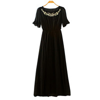 Summer Prom Dress Embroidery Chiffon Short Sleeve One Piece Dress [4919326532]