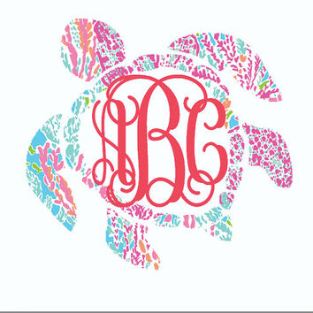 Lilly Pulitzer inspired sea turtle monogram Decal for car, laptop, cup, cell phone, Samsung, iphone, notebook, tumbler, boots, mailbox +!