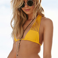 Stone Fox Swim Strappy Halter Bikini Top