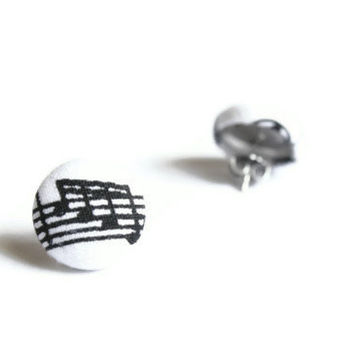 Notes Music Print Fabric Covered Button Earrings