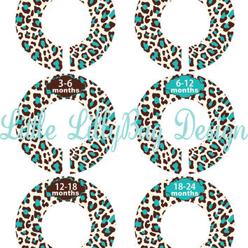 Custom Baby Closet Dividers Girl Brown Aqua Leopard Nursery Closet Dividers Baby Shower Gift Baby Clothes Organizers Baby