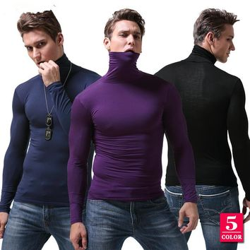 Winter&Autumn Mens Underwear Long Johns for Man High Neck Undershirt Long Sleeve Tops 5 color