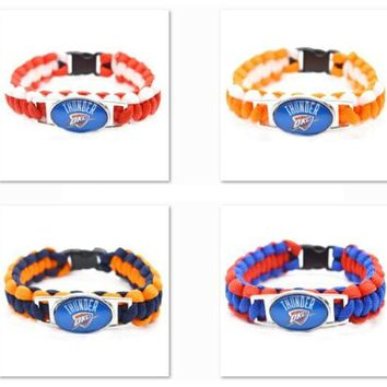 2017 New Basketball Bracelet Oklahoma City Thunder Charm Braided Bracelet for Men Women  Sport Bracelet Jewelry Gifts