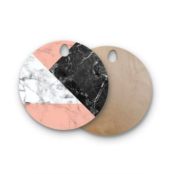 "KESS Original ""Geo Marble and Coral"" Black Art Deco Round Wooden Cutting Board"