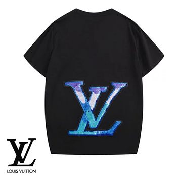 LV Louis Vuitton Fashion New Print Sequin Women Men Top T-Shirt Black