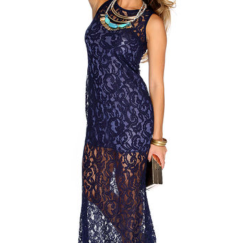 Sexy Navy Embroidered Mesh Sleeveless Maxi Dress