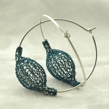 Blue large chic earrings Pod on a hoop volume with no by Yoola
