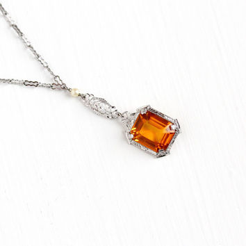 Vintage Art Deco Orange Glass Necklace - Silver Tone 1920s 1930s Simulated Citrine Filigree Lavalier Pendant Paperclip Chain Jewelry