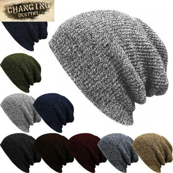 new hot Unisex winter Male hats Striped Knitted Beanies cap Man'S Women Hip-Hop Bonnet Warm wool caps Gorra 7 color