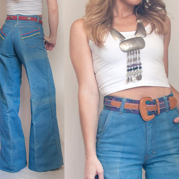 70s High Waisted Bell Bottom Jeans - Small XS 25 Waist   Womens Vintage Denim Bell Bottoms Wide Leg Flare Pants by Pentimento   1960s 1970s