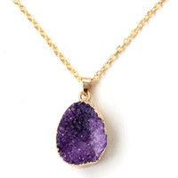 Druzy amethyst necklace, february birthstone, best friend birthday gift, mother gift, gold amethyst, february gift