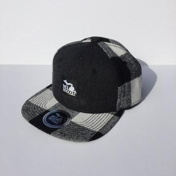 Ink Detroit MI Hood Black Plaid Snapback Hat