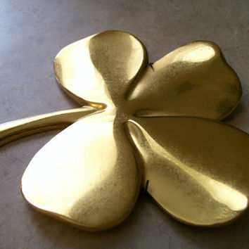 FOUR LEAF CLOVER, Brass Clover with Inscription on Back, Wall Hanging Clover, Paperweight, St. Patricks Day, Irish, Christian