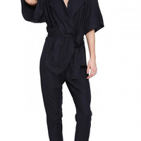 Navy Fifth Sleeve Striped Collared Jumpsuit