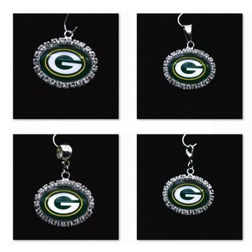 Silver Pendant Charms Rhinestone Green Bay Packers Charms for Bracelet Necklace for Women Men Football Fans Paty Fashion 2017