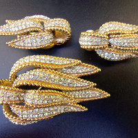 CINER Pave' Rhinestone Brooch Earrings Set, Gold Plate Trim, Vintage