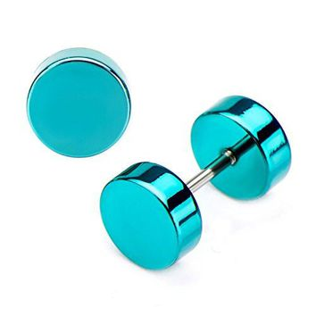 18g Stainless Steel Teal Plated Faux WildKlass Plug