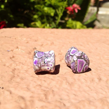 Teardrop Purple Agate Stone Plugs 8g 6g 4g 2g 0g 00g 7/16