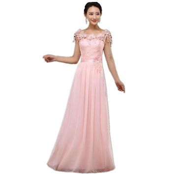 Pink Bridesmaid Long Dresses Chiffon Lace Flower Short Sleeve Bridesmaid Gown For Wedding
