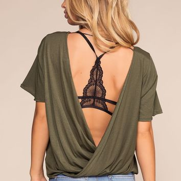 In The Raw Open Back Tee - Olive