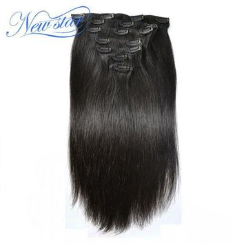 CUPUP9G New Star Clip In Brazilian Straight Virgin Hair Extensions 7Pcs/Set 120G Natural Color Human Hair