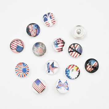 18MM Glass USA Independence Day Flag Snap Button Charm DIY Snap Jewelry Accessories(Mixed 50pcs or Single 20pcs)