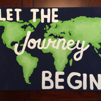 World Map Canvas Painting Quote Preppy College Dorm Decor