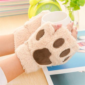 Woman Gloves Winter Warm Fluffy Bear/Cat Plush Paw/Claw Glove-Novelty Valentine's Day Gift Lovely Lady's Half Covered Mittens