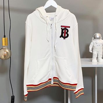 BURBERRY Autumn Newest Women Hoodie Zipper Cardigan Sweatshirt Coat Sportswear White