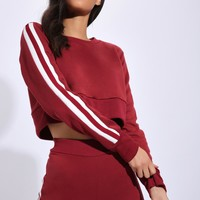 Burgundy Stripe Crop Jumper