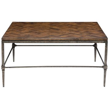 Everett Square Cocktail Table with Wood Top/Metal Base